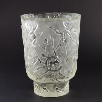 Vase - clear glass, sandblasted glass - 1950